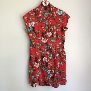 City Streets Red Floral Parrot Hawaiian Dress